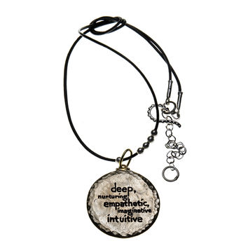 Elements Water Sterling Silver Bronze Leather Necklace
