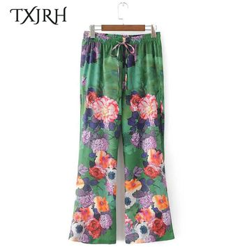 TXJRH Vintage Ethnic Colorful Floral High Elastic Waist Lacing up Tied Bow Loose Wide Leg Pants Fashion Women Pants Trousers New