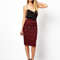 ASOS PREMIUM Pencil Skirt In Lace With Embellishment