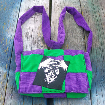 Green Purple Patchwork Corduroy Crossbody Purse Joker Ready to Ship