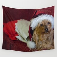 Yorkshire (yorkie) / Silky Terrier Christmas Wall Tapestry by Scott Hervieux