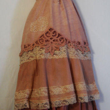 Tea stained dress prairie  tiered cotton  bohemian rose medium  by vintage opulence on Etsy