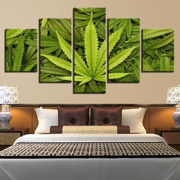 Canvas Paintings Wall Art HD Prints 5 Pieces Abstract Green Leaves Pictures For Living Room Green Life Posters Modern Home Decor