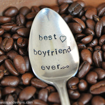 BEST BOYFRIEND EVER  Hand Stamped Vintage by jessicaNdesigns