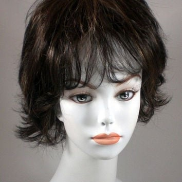 Brown/Auburn Short Wavy Hair Wigs w/ layers, flips