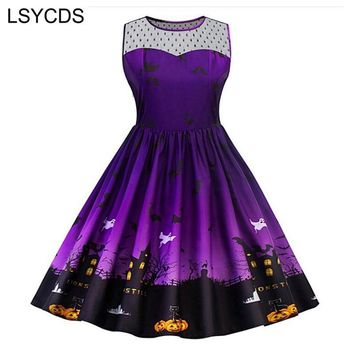 LSYCDS Elegant Purple Dresses O Neck Sleeveless Robe Floral Print Lace Mesh Halloween Pumpkin Party Dress Vintage Women Clothing