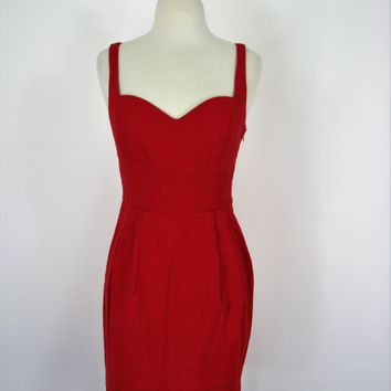 Urban Outfitters Cooperative Triple Back Strap Red Linen Dress 2