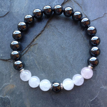 Healing Aches & Pains ~ Genuine Rose Quartz and Hematite Bracelet w/ Sterling Silver Spacers