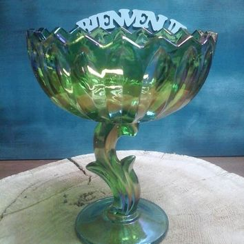 Candy Bowl / / Carnival / / glass / / green / / Tulip.