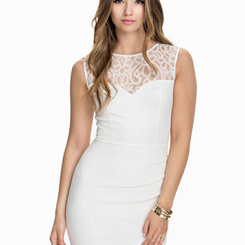 Lace Neck Wrap Dress, NLY One