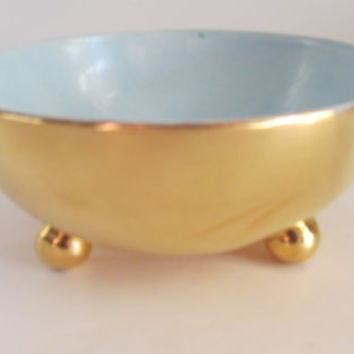 GOLD GILT Bowl 3 Legged Bowl Solid Gold Bowl French Provincial Decor Romantic Table Setting