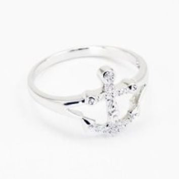 Delta Gamma Sterling Silver Anchor Ring, set with CZs size 7