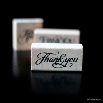 Thank You - Calligraphy Script Font Wooden Rubber Thank You Stamp - Stamp House