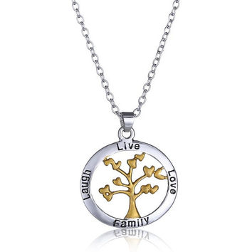 Hand stamped Silver Family Tree Live Laugh Love Stamped Necklace  Handstamped Jewelry Stamped Jewelry Hand Stamped Silver Jewelry