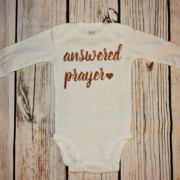 """Baby announcement- """"Answered Prayer"""" Onesuit - baby shower gift"""