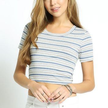Out of Line Stripe Crop Top