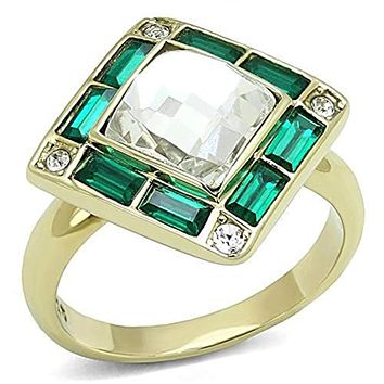 WildKlass Stainless Steel Ring IP Gold(Ion Plating) Women Synthetic Clear
