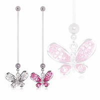 BioFlex Pregnancy Navel Ring with Multi CZ Butterfly Dangle