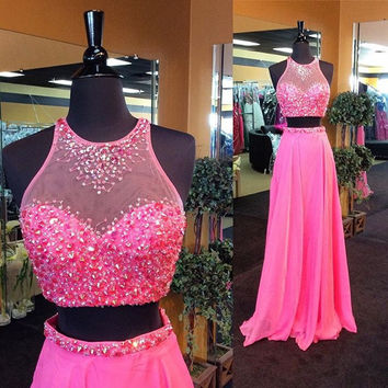 Two Piece Hot Pink Beaded Prom Dresses