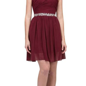 Starbox USA 6424 Embellished Waist Knee Length Homecoming Dress Burgundy