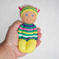 Waldorf baby doll, Toddler gift, Pocket sock doll, Natural toys, Christmas gifts, Babyshower gift, Children birthday, Handmade