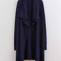 Deep Blue Drape Wrap Coat