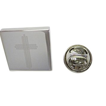 Silver Toned Etched Lined Religious Cross Lapel Pin