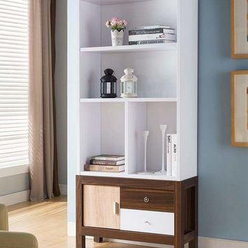 3 Shelves Wooden Display Cabinet With 1 Divider In White And Brown