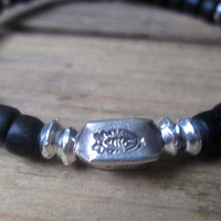 Masai Warrior Bead, Hill Tribes Silver, Fish, Mens Bracelet, Tribal, Black Silver, Stretch, Stacking, Antique