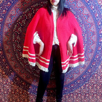 Vintage 60s Red Mod Wool Fringe Open Style Poncho Cape One Size Fits Most