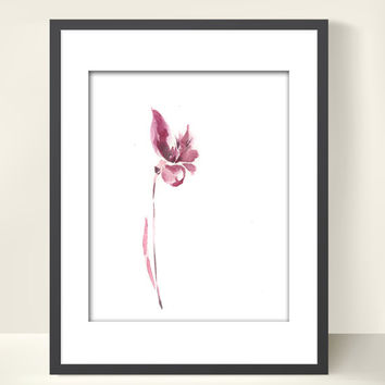 Minimalist Flower - Watercolor Painting Art Print, Pink Floral Abstract Watercolor Art, Modern Art