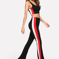 Panel Side Crop Top & Flare Hem Pants Set -SheIn(Sheinside)