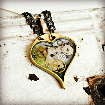 STEAMPUNK HEART RESIN Necklace with Vintage by hardweardesigns
