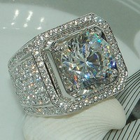 Fashion Full Off Crystal Silver Ring Men Jewelry Big Mens Signet Rings For Man Luxury Zircon Wedding Band Rings R225