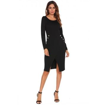 O-Neck Long Sleeve Solid Faux Wrap Split Front Office Business Dress