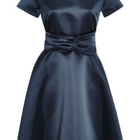Belted Duchesse Satin Dress