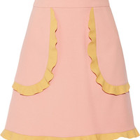 REDValentino - Two-tone ruffle-trimmed cady mini skirt