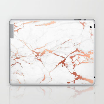 White rose-gold marble Laptop & iPad Skin by printapix