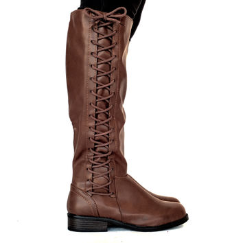 All Tied Up Boots In Dark Brown