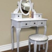 Best Choice Products Vanity Armoire Makeup Table Set - White