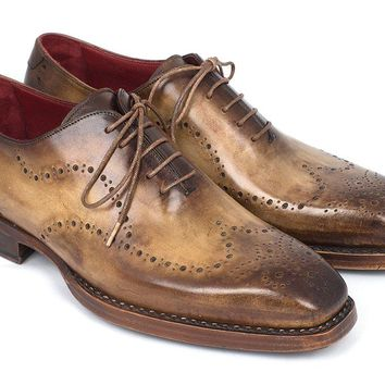 Men's Goodyear Welted  Wingtip Oxfords Antique Olive Shoes (87OLV54)