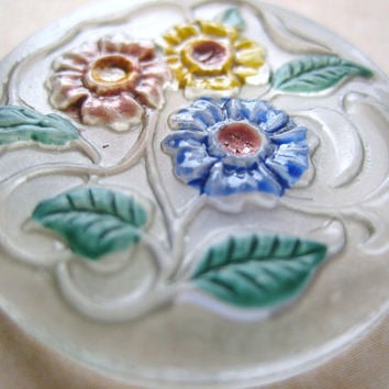 Vintage frosted glass cabochon cab hand painted enameled floral flowers intaglio  stone