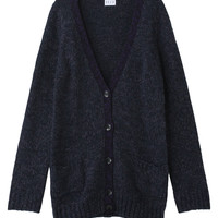 [ELLE SHOP] acrylic alpaca wool V Long knit cardigan navy | El Apparel (ELLE) | El shop