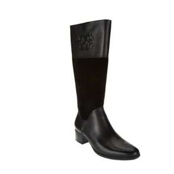 C. Wonder Black Mira Tall Boots with Embossed Detail