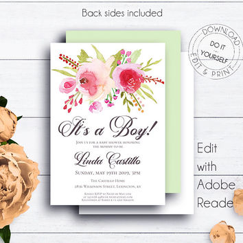 Baby Boy Floral Shower Invite, It's a Boy, Printable Baby Shower Invitation, Editable, Watercolor, DIY Shower Template, Roses