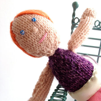 Knitted Ballerina Doll - Purple & Pink Dance Outfit