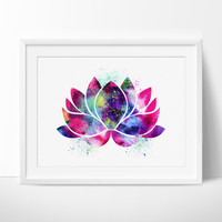 Lotus Flower Art, Yoga Artwork, Lotus Flower Decor, Watercolor Yoga Art, Buddha Art,Wall Art Print Watercolor, Yoga Poster  (36)