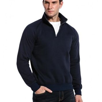 Navy Blue New Men Casual Hooded Long Sleeve Pullover Synthetic Leather Patchwork Hoodies