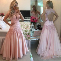 Cap Sleeve Pink A-Line Prom Dresses,Prom Dress