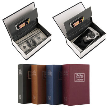 1pcs Safe Box Simulation Dictionary Style Security Secret Book Case Cash Money Jewelry Storage Box Security Key Lock Size S